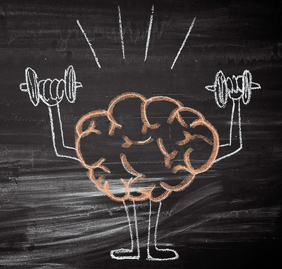 Chalk Drawing of Cartoon Brain Lifting Weights | MCI 911 Mild Cognitive Impairment